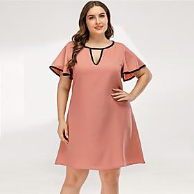 Women's A-Line Dress Short Mini Dress - Short Sleeve Solid Color Ruffle Summer V Neck Plus Size Casual Elegant Going out 2020 Blushing Pink L XL XXL 3XL 4XL