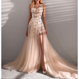A-Line Wedding Dresses Jewel Neck Sweep / Brush Train Lace Tulle Sleeveless Sexy See-Through with Embroidery Appliques Split Front 2020