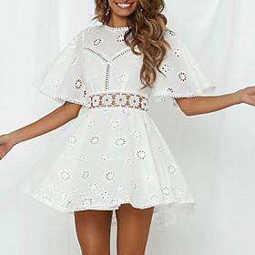 Women's Mini A Line Dress - Short Sleeves Solid Color Summer Elegant Slim 2020 White S M L XL