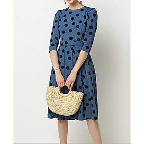 Women's Chiffon Dress - Half Sleeve Polka Dot Summer Elegant 2020 Black Blue S M L XL XXL