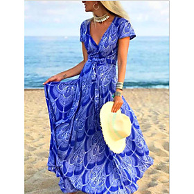 Women's Maxi Sheath Dress - Short Sleeves Floral Summer V Neck Elegant Slim 2020 Blue M L XL XXL XXXL XXXXL