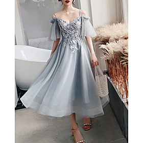 A-Line Flirty Grey Party Wear Cocktail Party Dress Spaghetti Strap Short Sleeve Tea Length Tulle with Pearls Appliques 2020