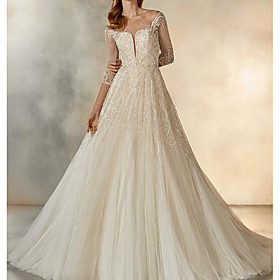 A-Line Wedding Dresses Jewel Neck Sweep / Brush Train Lace Tulle Half Sleeve Formal See-Through with Crystals Embroidery 2020