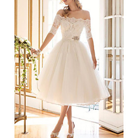 A-Line Wedding Dresses Off Shoulder Tea Length Lace Tulle Half Sleeve Vintage Sexy Wedding Dress in Color Backless with Crystal Brooch 2020