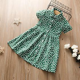 Kids Girls' Active Cute Polka Dot Floral Solid Colored Print Short Sleeve Midi Dress Green
