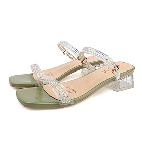 Women's Sandals Summer Block Heel Open Toe Sweet Daily PU Almond / Red / Gold
