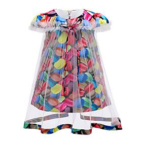 Kids Girls' Active Cute Rainbow Patchwork Lace Bow Short Sleeve Above Knee Dress Rainbow