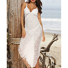 Women's Maxi Sundress Dress - Sleeveless Solid Color Summer Strap Sexy Loose Mesh White One-Size