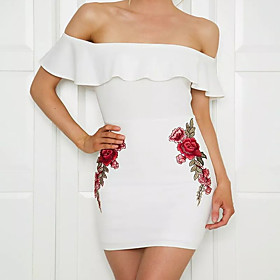 Women's Rose A Line Dress - Sleeveless Print Backless Summer Fall Strapless Elegant Street chic Party Belt Not Included 2020 White S M L XL XXL