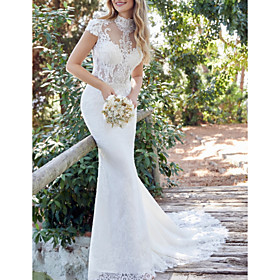 Mermaid / Trumpet Wedding Dresses High Neck Sweep / Brush Train Lace Satin Short Sleeve Vintage Sexy Backless with Embroidery 2020