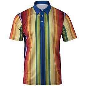 Love wins Men's Daily Going out Basic / Elegant Polo - Striped / Color Block / 3D Rainbow