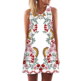 Women's Shift Dress - Sleeveless Floral Geometric Color Block Summer Casual Party Going out 2020 White Black Blue Yellow Blushing Pink Green S M L XL XXL