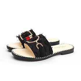 Women's Sandals / Slippers  Flip-Flops Flat Sandal Summer Flat Heel Open Toe Casual Daily Canvas White / Black / Gray