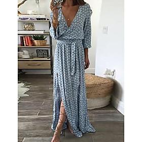 Women's Maxi Sheath Dress - 3/4 Length Sleeve Print Split Spring Summer V Neck Sexy Mumu Holiday Going out Loose 2020 Green Gray S M L XL XXL