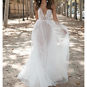 A-Line Wedding Dresses V Neck Floor Length Lace Tulle Sleeveless Sexy See-Through with Embroidery 2020