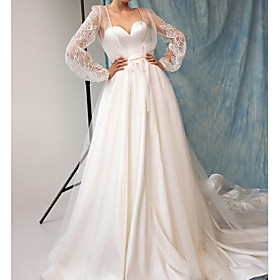 A-Line Wedding Dresses Sweetheart Neckline Court Train Lace Satin Long Sleeve Sexy See-Through with Embroidery 2020