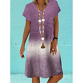Women's A-Line Dress Knee Length Dress - Short Sleeves Color Block Summer Elegant 2020 Blue Purple Gray S M L XL XXL XXXL XXXXL XXXXXL