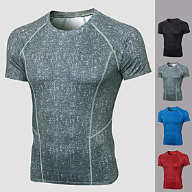 Men's Running Shirt Solid Color Black Red Blue Gray Elastane Yoga Running Fitness Tee / T-shirt Short Sleeve Sport Activewear Breathable Comfort Quick Dry Stre