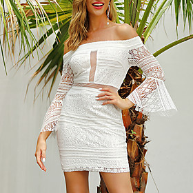 Women's A Line Dress - 3/4 Length Sleeve Solid Color Ruffle Patchwork Summer Off Shoulder Strapless Elegant Sexy Daily Holiday Flare Cuff Sleeve Slim 2020 Whit