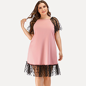 Women's Shift Dress Knee Length Dress - Short Sleeve Solid Color Mesh Patchwork Summer Square Neck Plus Size Elegant Streetwear Holiday Going out Loose 2020 Bl