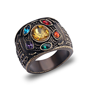 Men's Band Ring 1pc Chocolate Alloy Round Punk Street Jewelry Mixed Color Wearable Environmental