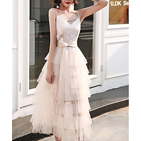 A-Line Elegant Minimalist Homecoming Cocktail Party Dress Spaghetti Strap Sleeveless Ankle Length Tulle with Tier 2020