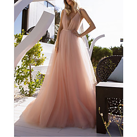 A-Line Wedding Dresses V Neck Court Train Chiffon Sleeveless Beach Sexy Wedding Dress in Color See-Through with Sashes / Ribbons Split Front 2020