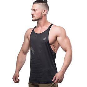 Men's Mesh Cotton Running Tank Top Workout Tops Singlet Active Training Fitness Jogging Breathable Quick Dry Soft Sportswear Top Sleeveless Activewear Micro-el