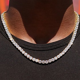 Men's Chain Necklace Long Necklace Tennis Chain Pave Punk Blinging Hippie Iced Out Alloy Golden Silver 50-80 cm Necklace Jewelry 1pc For Party Evening Masquera