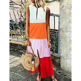 Women's Shift Dress Maxi long Dress - Sleeveless Color Block Summer Elegant 2020 Blue Yellow Orange Gray S M L XL XXL