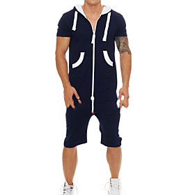 Men's Basic Hooded Navy Blue Romper Solid Colored