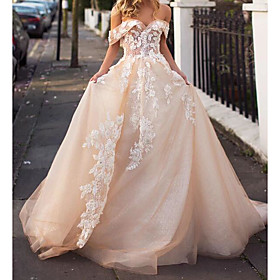 A-Line Wedding Dresses Jewel Neck Court Train Lace Tulle Short Sleeve Formal Wedding Dress in Color with Embroidery 2020