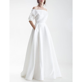 A-Line Wedding Dresses Off Shoulder Sweep / Brush Train Chiffon Over Satin Half Sleeve Simple with Sashes / Ribbons Bow(s) 2020