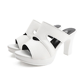 Women's Heels / Clogs  Mules Summer Pumps Open Toe Minimalism Daily Outdoor PU White / Black