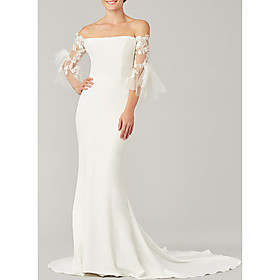 Mermaid / Trumpet Wedding Dresses Off Shoulder Sweep / Brush Train Tulle Stretch Satin 3/4 Length Sleeve Simple Illusion Sleeve with Bow(s) Appliques 2020