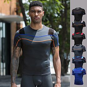Men's Running Shirt Patchwork Color Block Dark Grey Black / Red Black Blue Dark Blue Elastane Yoga Running Fitness Tee / T-shirt Short Sleeve Sport Activewear