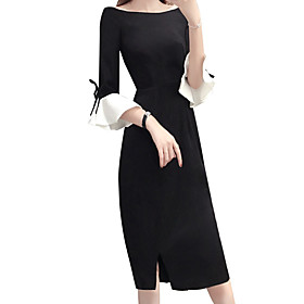 Women's A Line Dress - Short Sleeves Solid Color Split Summer Fall Boat Neck Casual Holiday Going out Slim 2020 Black M L XL XXL XXXL
