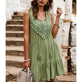 Women's A-Line Dress Knee Length Dress - Sleeveless Solid Color Summer V Neck Casual 2020 Blue Yellow Light Green S M L XL