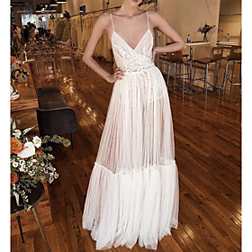 A-Line Wedding Dresses V Neck Spaghetti Strap Floor Length Lace Tulle Sleeveless Beach Sexy See-Through with Pleats Side-Draped 2020