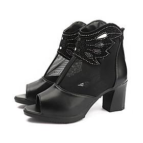 Women's Boots Spring   Fall / Spring  Summer Chunky Heel Open Toe British Daily Mesh / PU Black