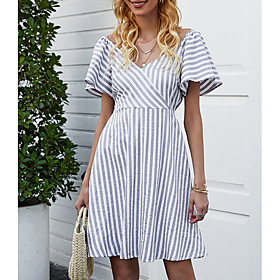 Women's A Line Dress - Short Sleeves Striped Summer V Neck Elegant 2020 Gray S M L XL