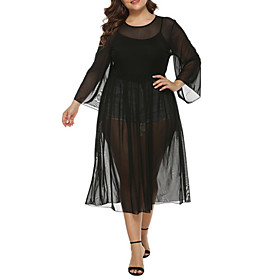 Women's Sundress Dress - Long Sleeve Solid Color Summer Sexy Loose 2020 Black XL XXL XXXL XXXXL
