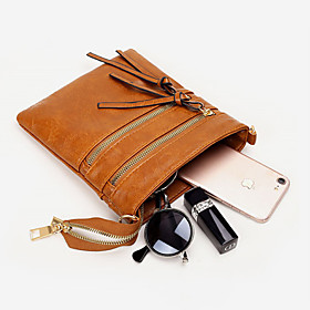 Women's Bags PU Leather / Polyester Crossbody Bag Zipper for Daily / Going out Dark Brown / Black / Yellow / Green / Brown / Fall  Winter
