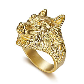 Men's Ring 1pc Gold Titanium Steel Round Stylish Party Evening Festival Jewelry Classic Wolf Head