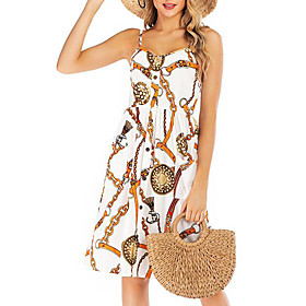 Women's Shift Dress - Sleeveless Polka Dot Print Summer Strap Street chic Backless White Black Blue Red Navy Blue S M L XL