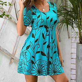 Women's A Line Dress - Short Sleeves Geometric Summer Casual 2020 Blue Purple Orange Green Gray S M L XL XXL XXXL