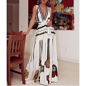 Women's A-Line Dress Maxi long Dress - Sleeveless Print Summer V Neck Casual Elegant 2020 White S M L XL XXL 3XL