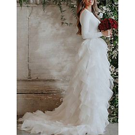 Ball Gown Wedding Dresses Jewel Neck Sweep / Brush Train Tulle Stretch Satin Long Sleeve Country Sexy with Cascading Ruffles 2020