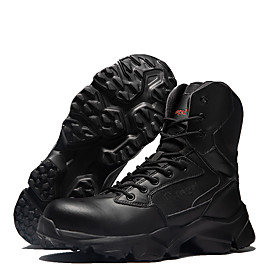 Men's Fall / Winter Athletic Outdoor Boots Hiking Shoes PU Waterproof Non-slipping Wear Proof Mid-Calf Boots Black / Khaki