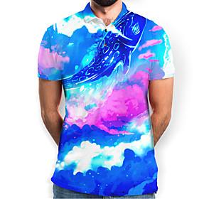 Men's Graphic Animal Slim Polo Basic Elegant Daily Going out Rainbow / Short Sleeve